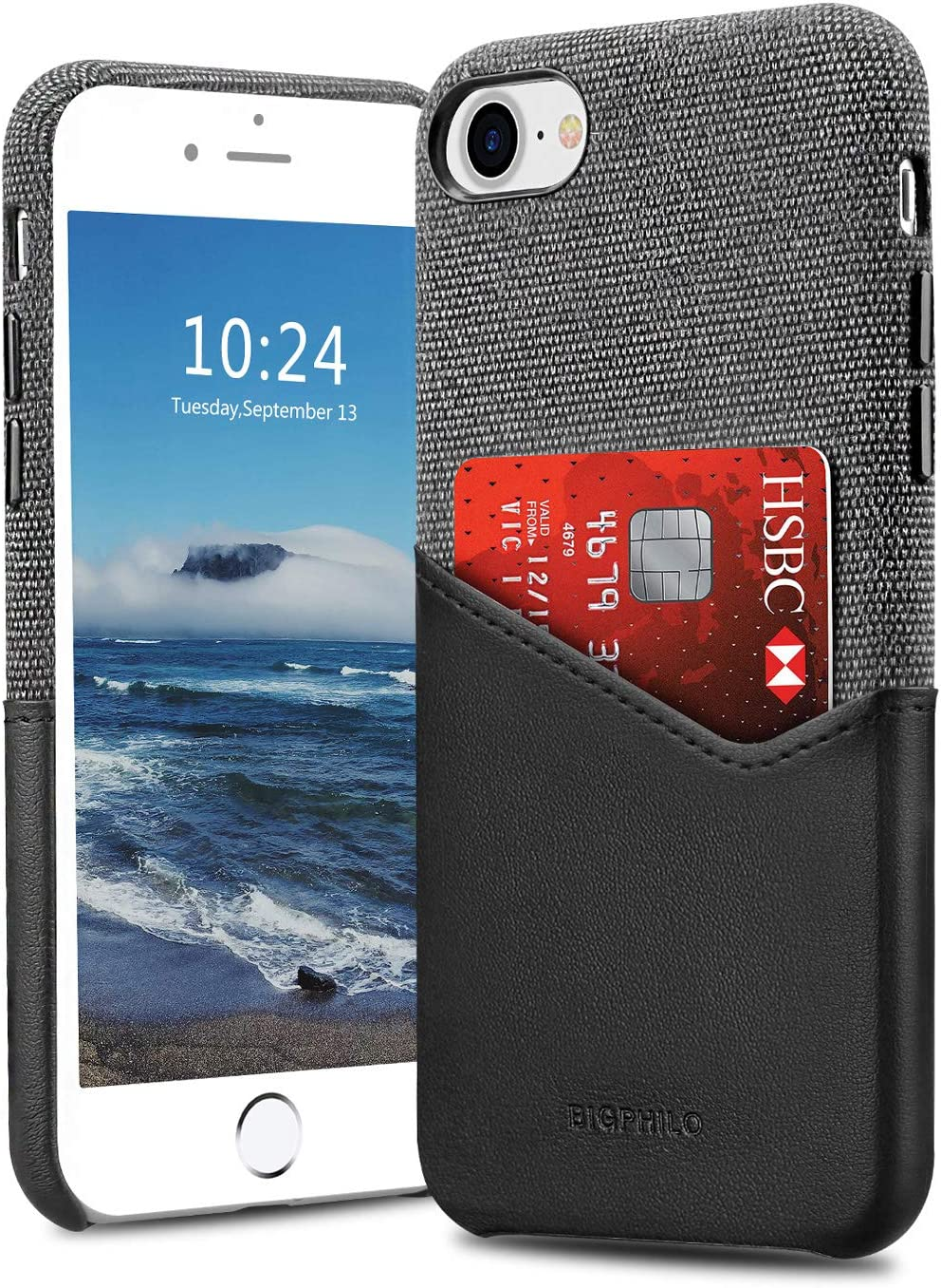 Bigphilo iPhone SE 2020 Case/iPhone 7 Case/iPhone 8 Case with Card Holder, Mix Series Slim Wallet Style Cover, Soft-Touch Fabric with PU Leather Case for iPhone 7 and iPhone 8 (NOT Plus) - Black