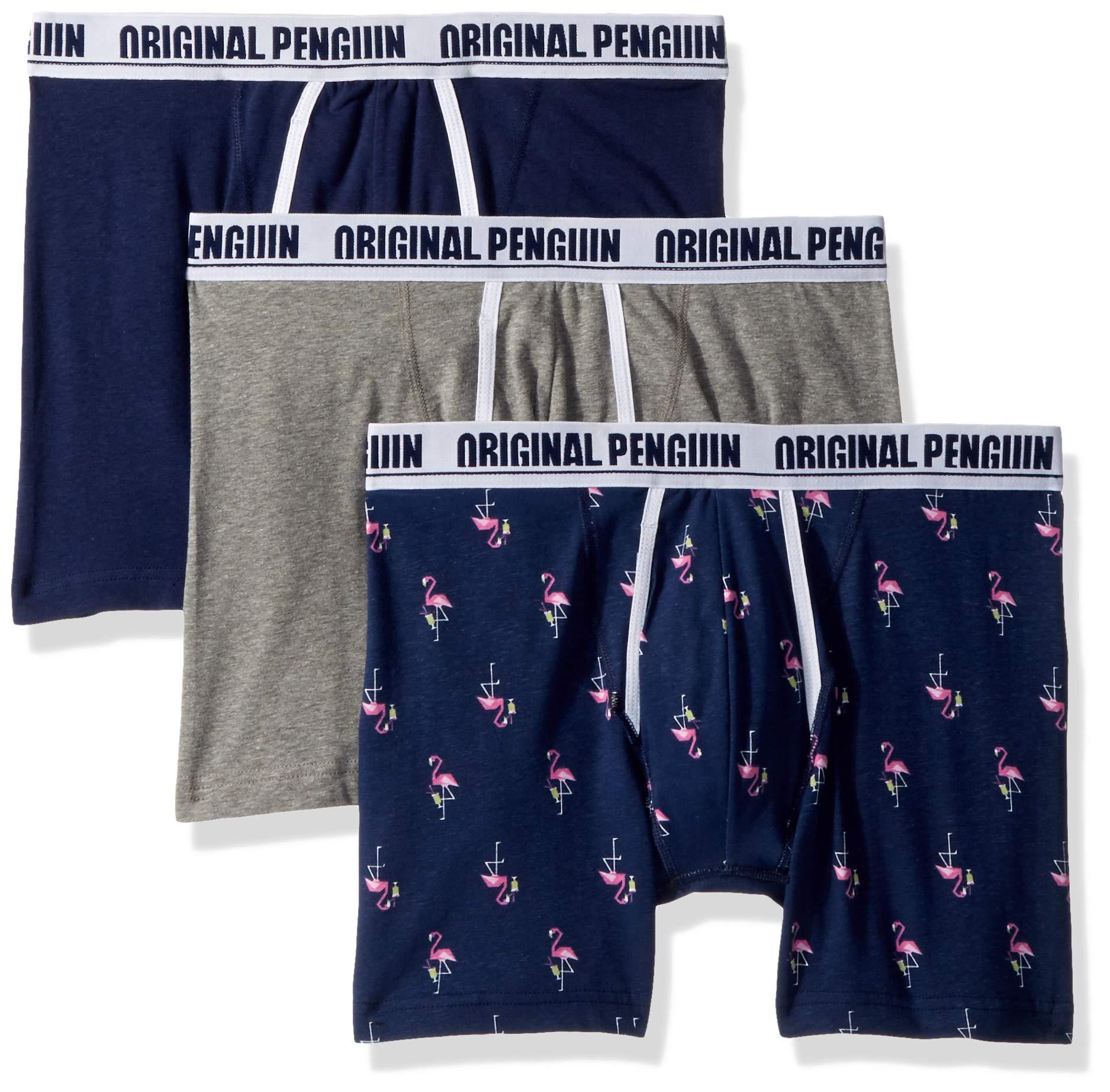 Original Penguin Men's Cotton Stretch 3 Pack Boxer Brief, Light Grey Heather, Medieval Blue, Blue, L