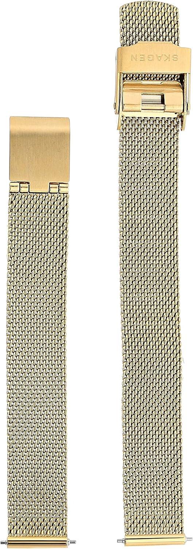 Skagen Women's 12mm Stainless Steel Mesh Watch Strap, Color: Gold-tone (Model: SKB2049)
