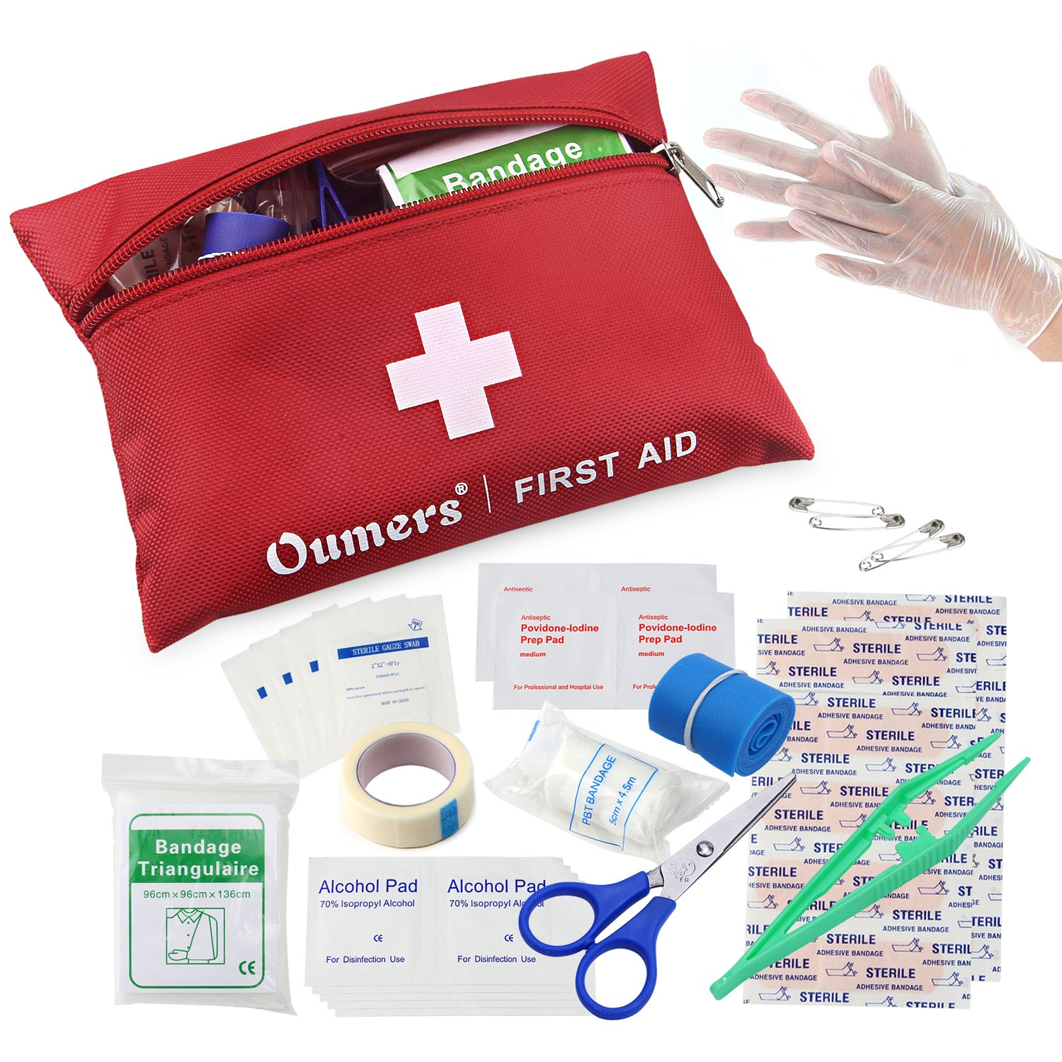 Oumers First Aid Kit Medical Bag Car Home Survival FBA_M3010