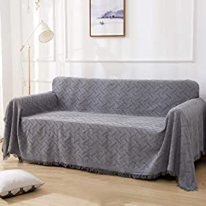 RHF Geometrical Sofa Cover, Couch Cover, Couch Covers for 3 Cushion Couch, Couch Covers for Sofa, Sofa Covers for Living Room, Couch Covers for Dogs, Couch Protector(Sofa:Dark Grey)