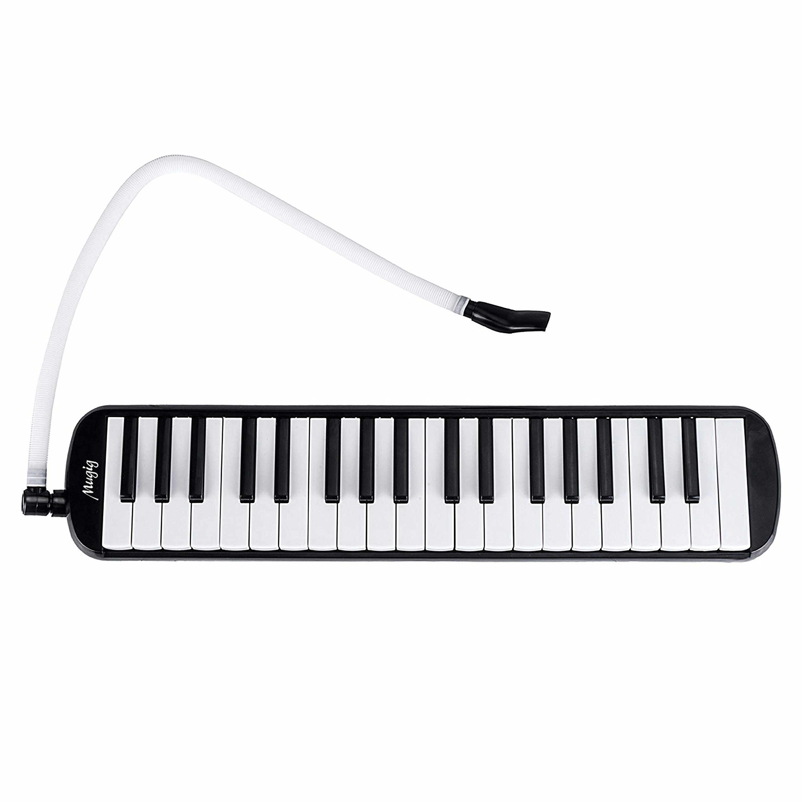 Melodica 37 Tasten Piano Style Melodika aus Bronze Phosphor und ABS für Kinder Spielen im Unterricht und zu Hause mit Anblasschlauch Mundstück Tragetasche Düse sauberes Tuch
