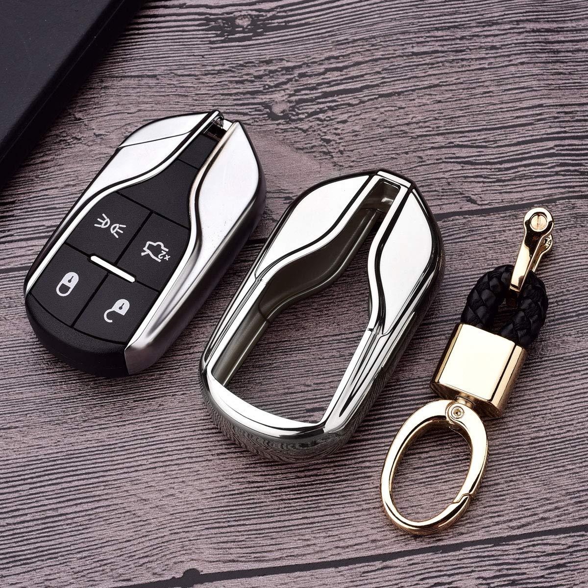 Blue TM Luxury Soft TPU Smart 4 Buttons Key Fob case Cover for Maserati Levante GT Quattroporte Ghibli Royalfox