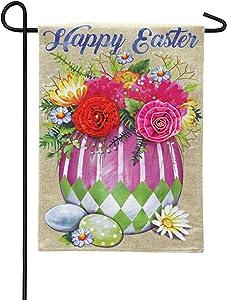Evergreen Flag Easter Egg Arrangement Burlap Garden Flag - 12.5 x 18 Inches Outdoor Decor for Homes and Gardens