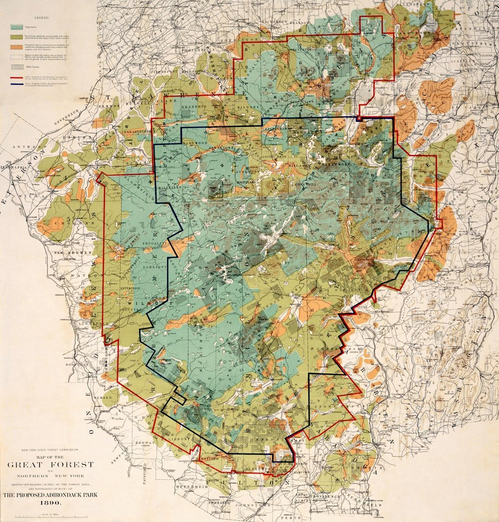 Map Of Northern New York.Adirondacks Historic Map The Proposed Adirondack Park C1890