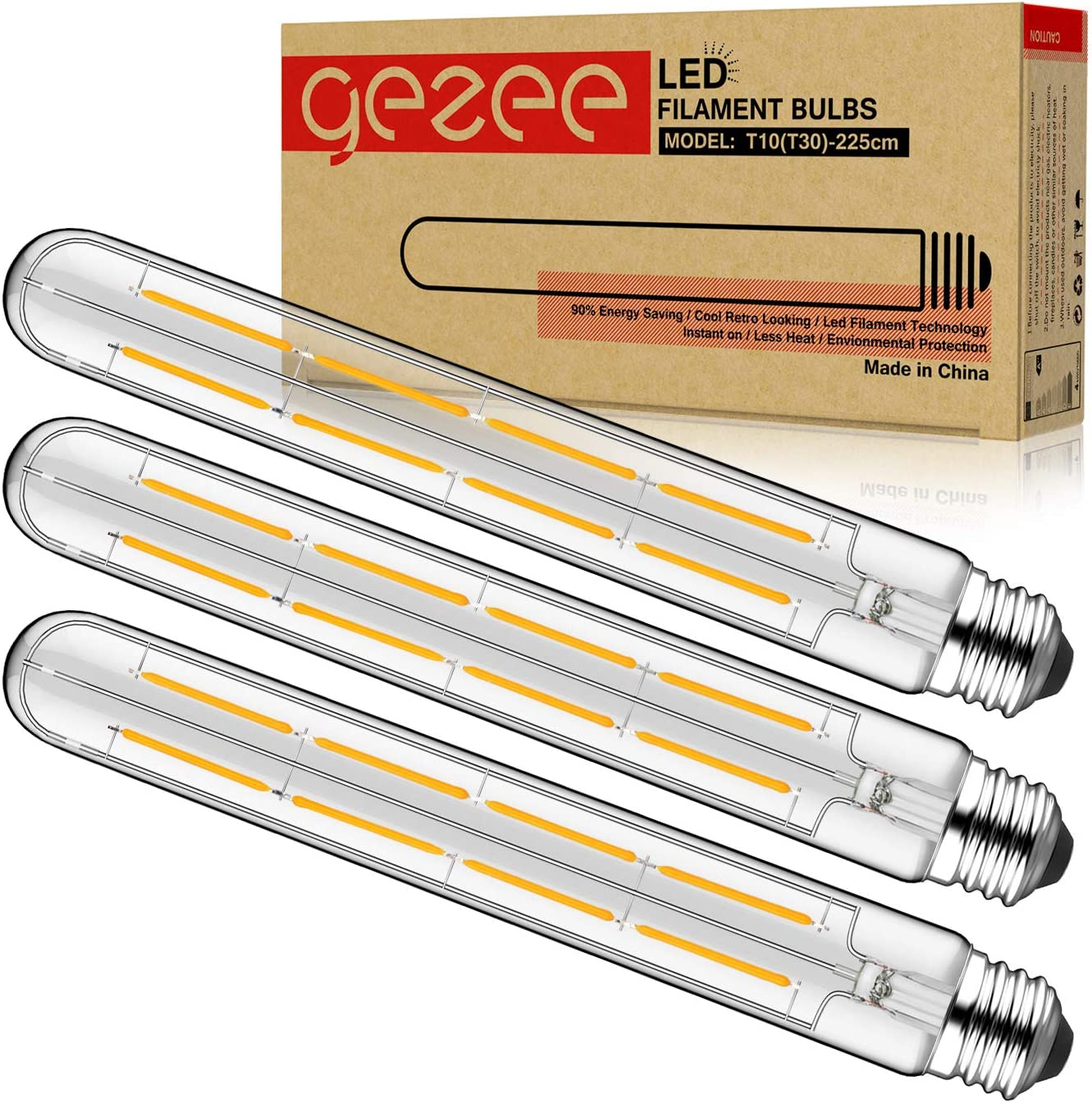 GEZEE T10(T30),8.9in(225mm), 3-Pack,Dimmable 8W Long Tube Decorative Light Bulb,Edison Style Vintage LED Filament Light Bulb,Antique Shape, Warm White 2700K,800LM(80W Equivalent), E26 Medium Base Lamp