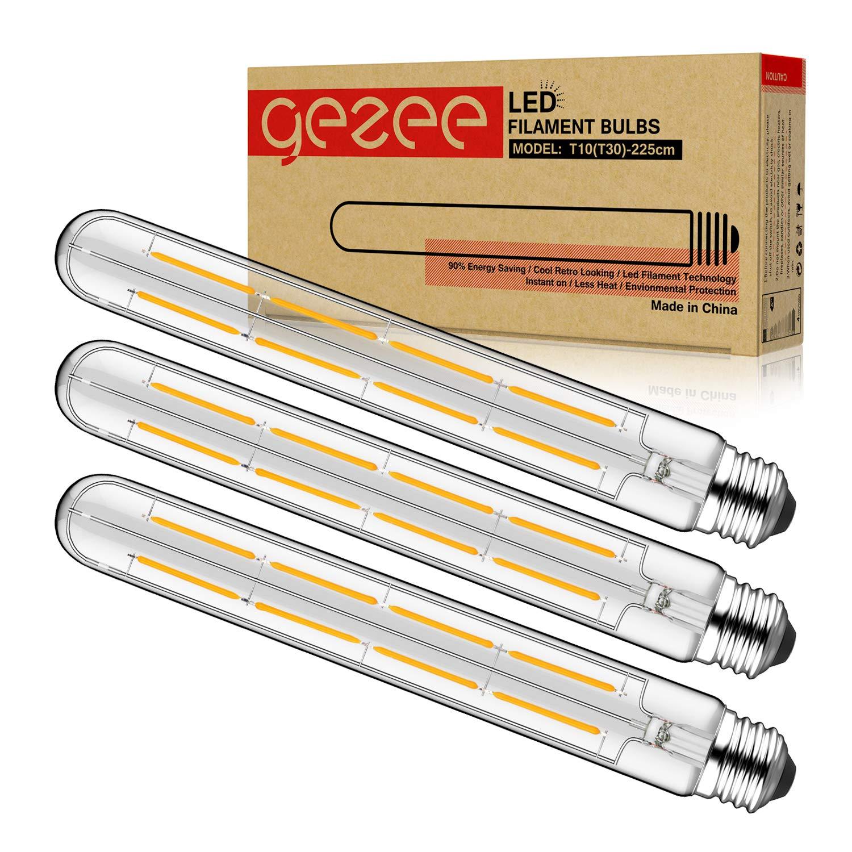 GEZEE T10(T30),3-Pack,Dimmable 8W Long Tube Decorative Light Bulb,Edison Style Vintage LED Filament Light Bulb,Antique Shape, Warm White 2700K,800LM(80W Equivalent), E26 Medium Base Lamp,8.9in(225mm)