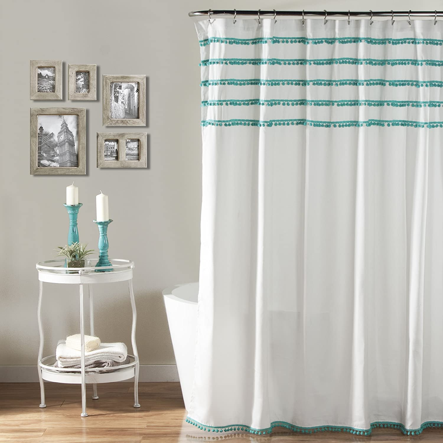 Amazon Lush Decor Aria Pom Shower Curtain 72 X Inches Aqua Home Kitchen