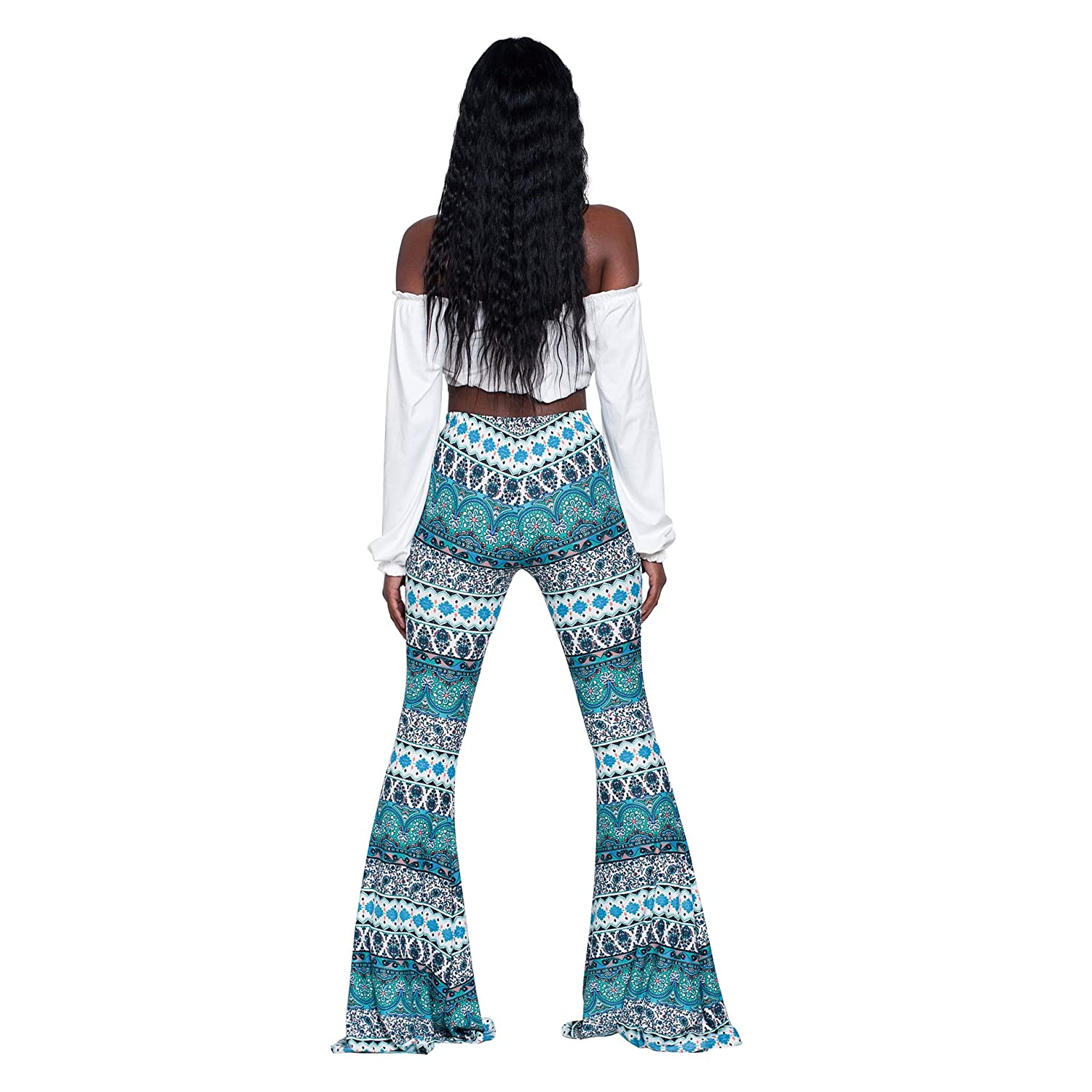 81bd7640f71797 Women's Sexy Glitter Sequin Wide Leg Color Block Bell Bottom High Waisted  Flared Stretch Palazzo Pants Plus Size at Amazon Women's Clothing store: