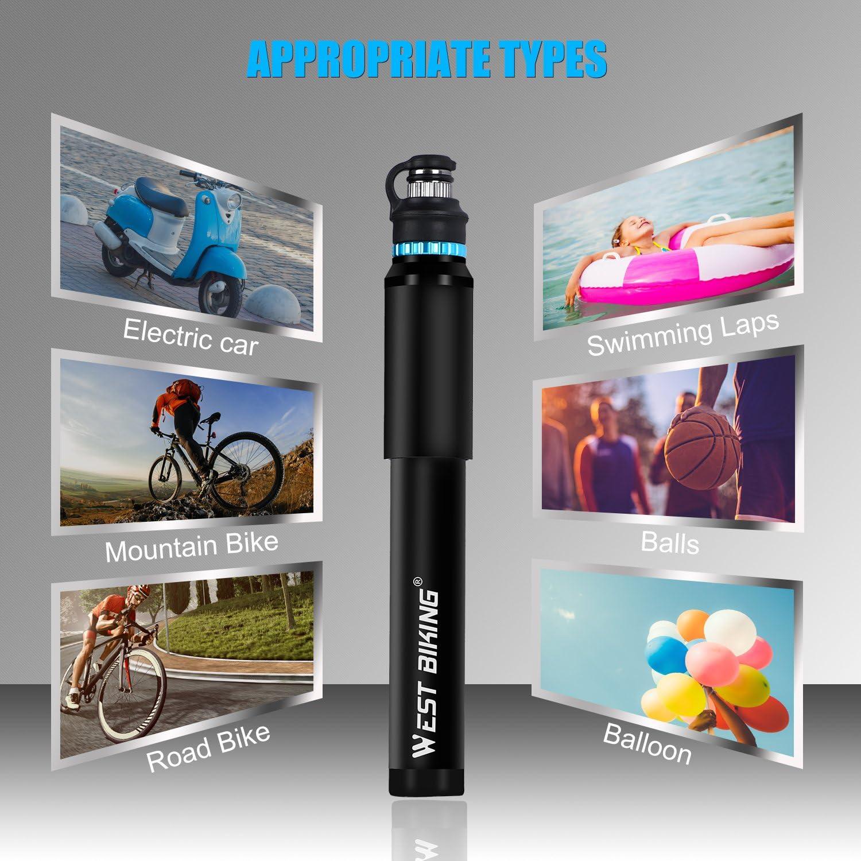 110 PSI Hochdruck-Handpumpe f/ür Presta /& Schrader-Ventil BMX Mountainbike WESTGIRL Mini Fahrradpumpe tragbare und kompakte Fahrradreifenpumpe mit Reparatursatz f/ür Rennrad