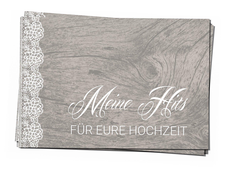 50 Musikwunschkarten A7 Musikwunsch Hochzeit Hochzeitsfeier DJ Karten Kraftpapier Naturbraun Sweet Vintage