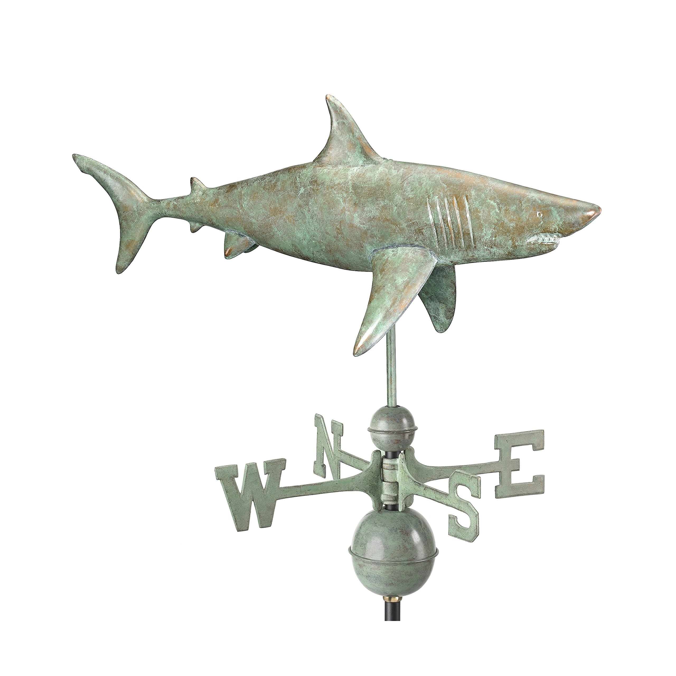 Good Directions Shark Weathervane, Blue Verde Copper, Fish, Patina by Good Directions