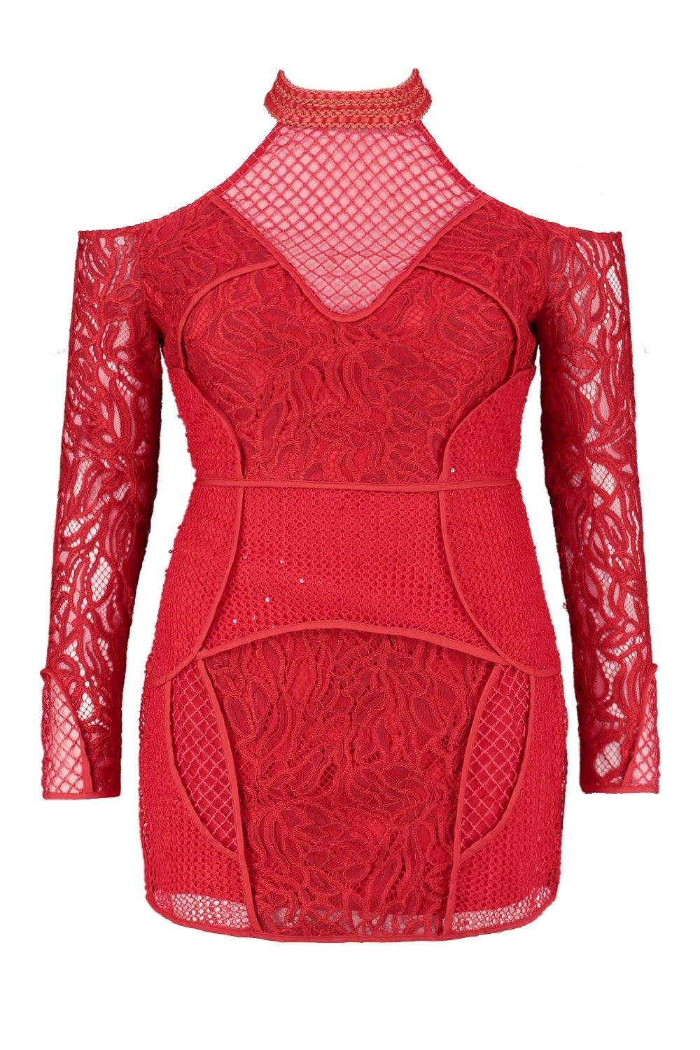 Boohoo Womens Premium Plus Size Sara Cold Shoulder Lace Dress In Red Size 16