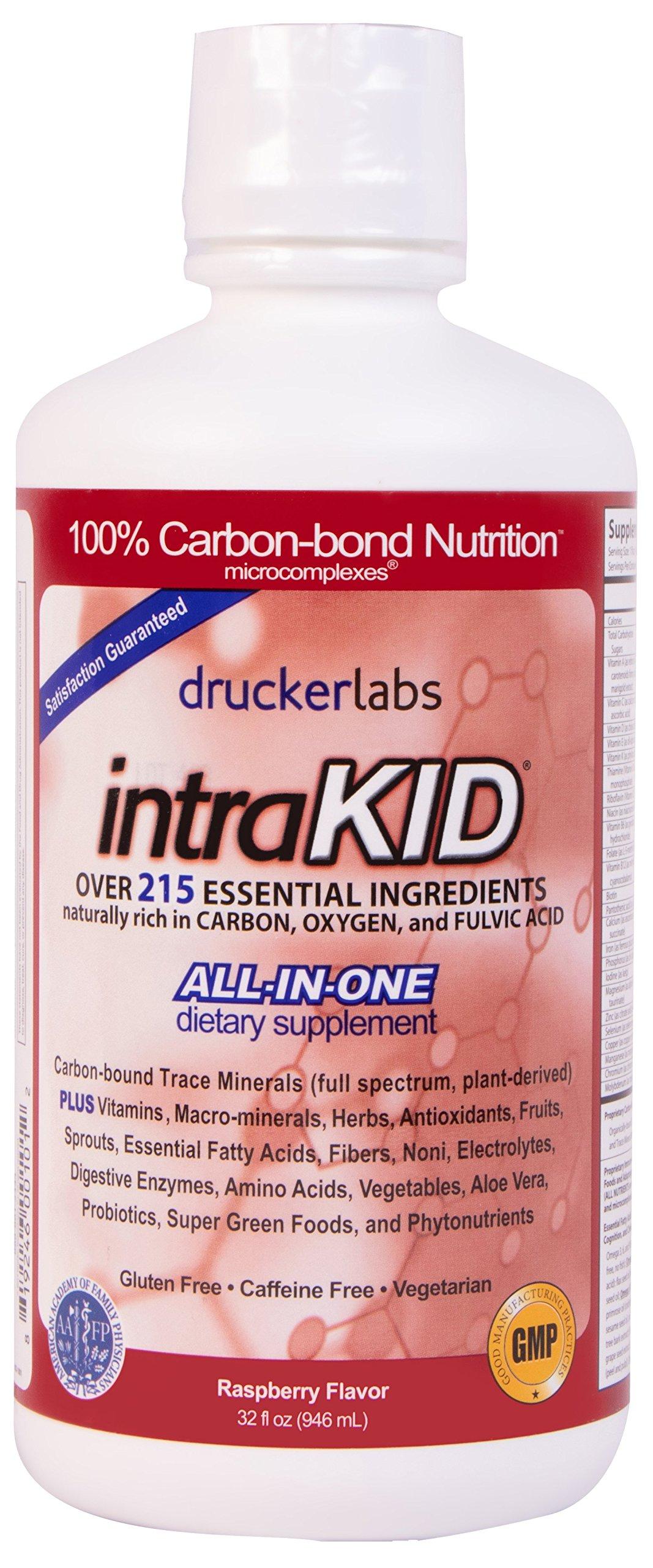 DRUCKER LABS IntraKID - Organic, Liquid, Trace Minerals, Multivitamin and Multi-Nutritional Dietary Supplement For Children  (32 Ounce / 946 Milliliter, Raspberry Flavor)
