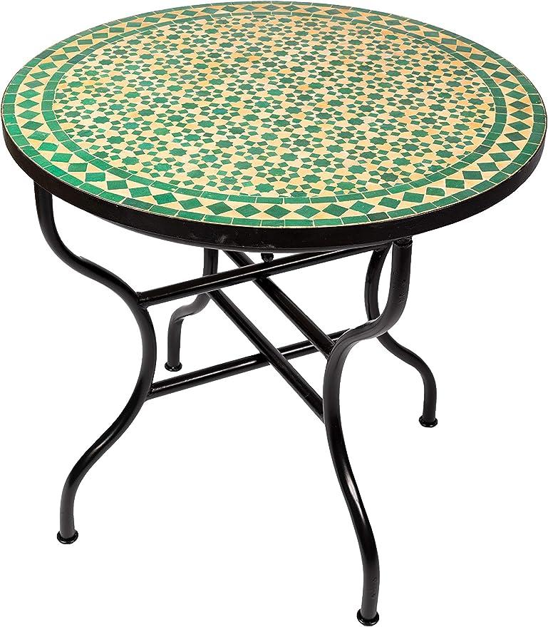 Table de jardin en mosaïque marocain rond pliable Ø 80 cm ...