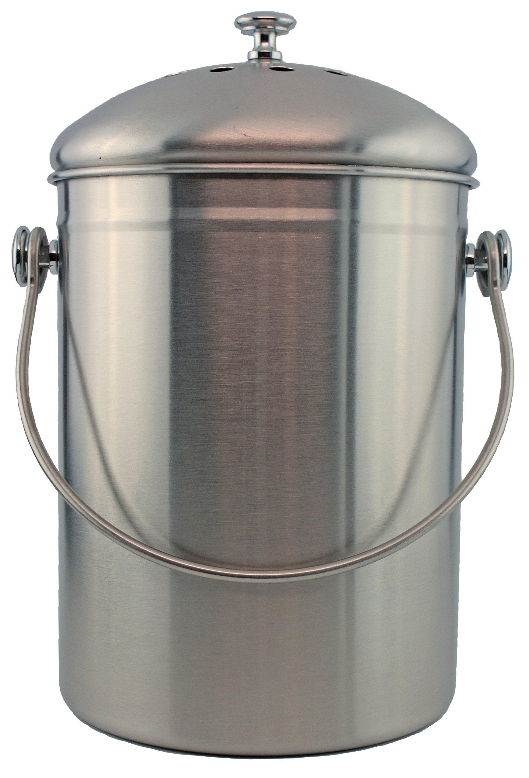 stainless steel 1 gallon compost pail with filter stainless product image