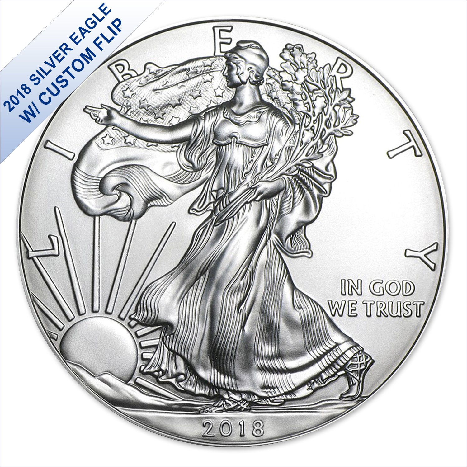 2018 American Silver Eagle (with Custom Coin Flip) $1 US Mint Brilliant Uncirculated
