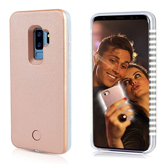 more photos 9d760 cabf1 FULLOPTO Galaxy S9 Plus LED Illuminated Selfie Light Phone Case Cover  Rechargeable Selfie Light Up Luminous Flashlight Protection Cell Phone Case  for ...
