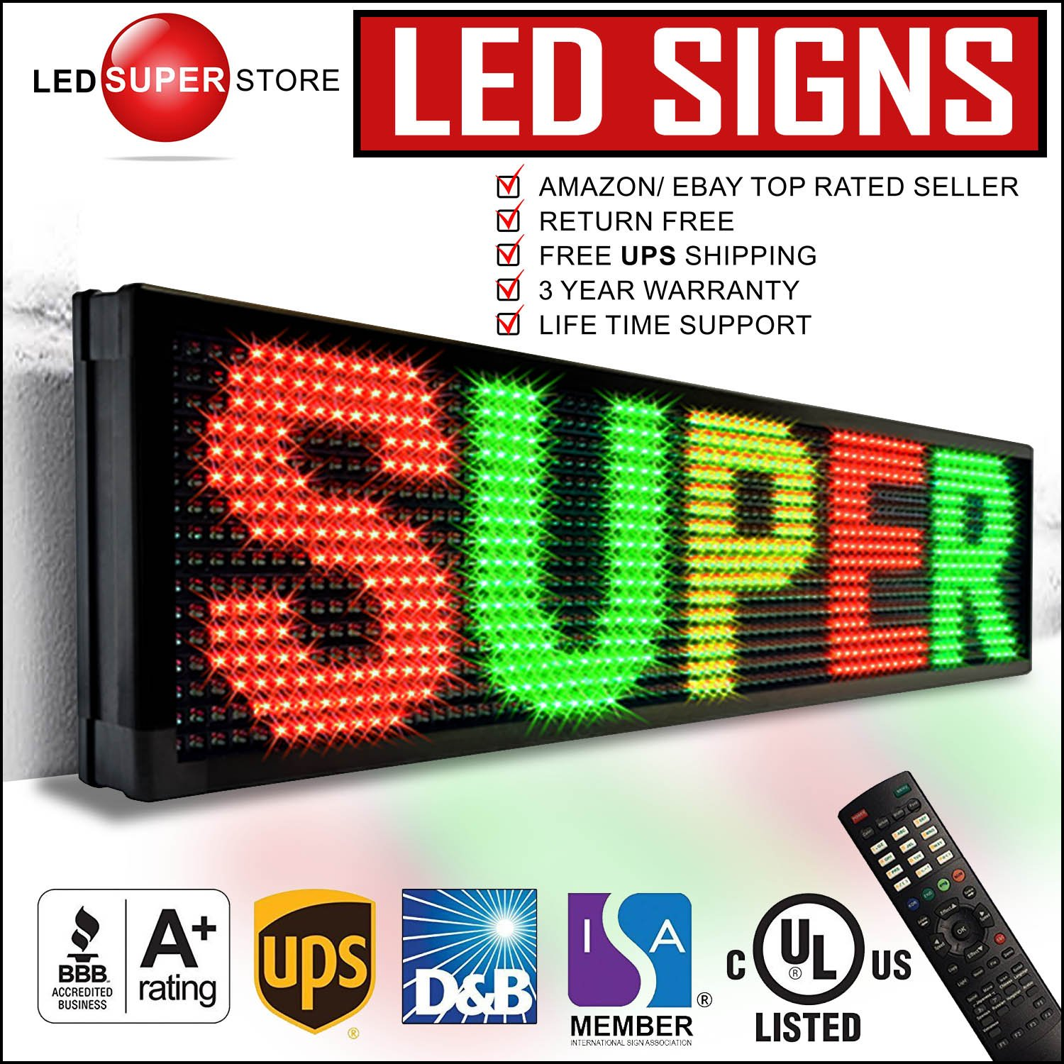 LED Super Store Signs 3 Color (RGY) 19'' x 69'' - Programmable Scrolling Display, Storefront Message Board - Industrial Grade Business Tools, EMC