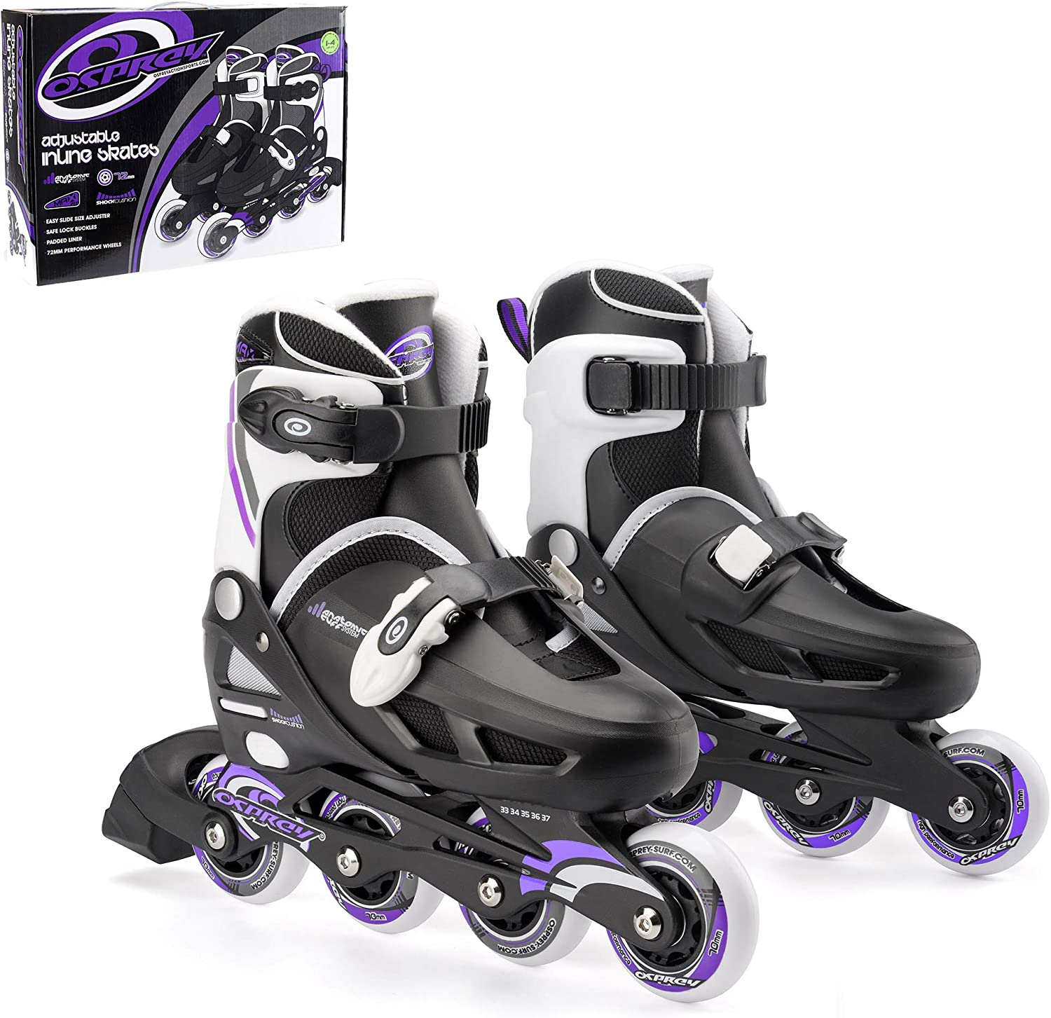 Osprey Kids Roller Blades, Adjustable Inline Skates for Boys and Girls with Safe Lock Straps / UK