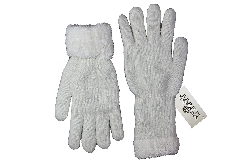 FERETI Guanti da donna Angora coniglio Beige donne inverno caldo maglia di  lana fiocco guanti scaldamani pelliccia: Amazon.it: Abbigliamento
