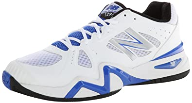 New Balance Men's MC1296 Stability Tennis Running Shoe,White/Blue,8 2E US