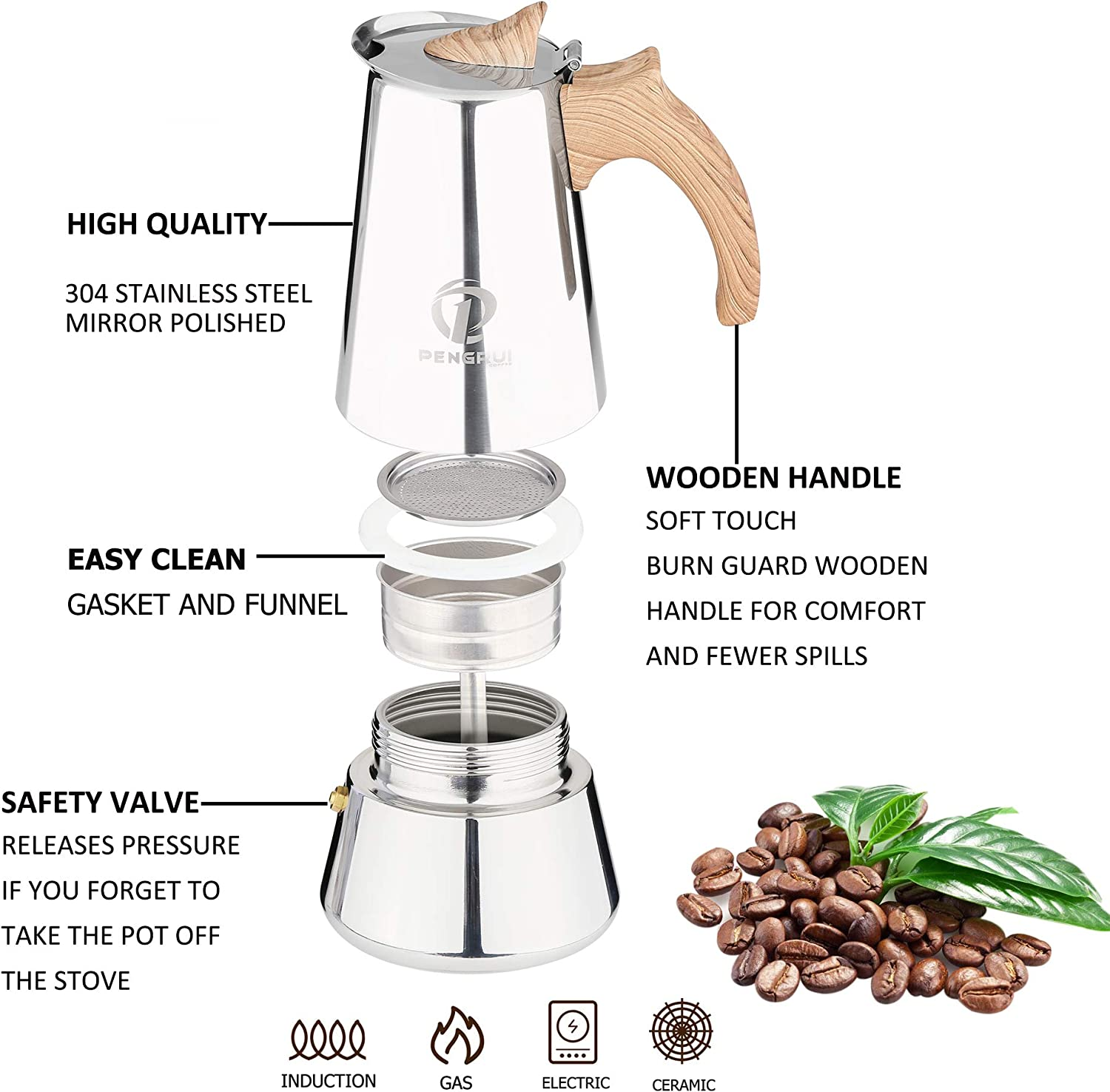 Pengrui Stainless Steel Stovetop Coffee Maker,6 Cup Moka Espresso Maker,Induction Suitable Italian Coffee Maker Percolator,Soft Touch Wooden Handle Moka Pot
