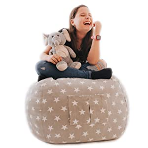 "Star Story Stuffed Animal Storage Bean Bag Chair - Extra Large 38"" Bean Bag Storage - 100% Cotton Canvas and Quality YKK Zipper - Beanbag For Kids Toys Storage - UltraResistant Organizer for Kids Room"