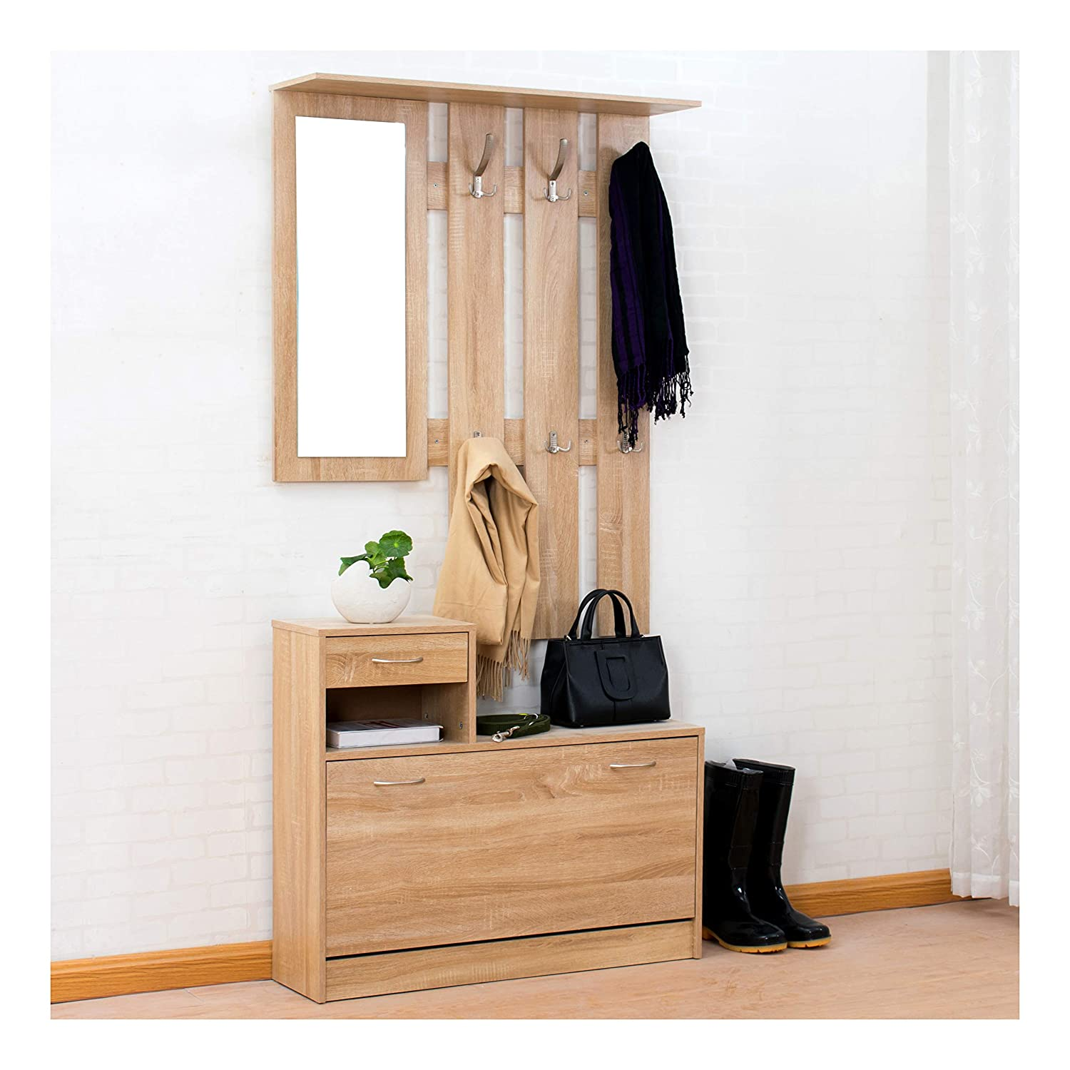 Cherry Tree Furniture Oak Colour Hall Tree Coat Stand Shoe Storage Unit with Floating Coat Hanging Rack with Mirror