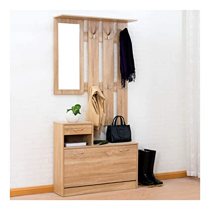 Coat And Shoe Storage.Cherry Tree Furniture Oak Colour Hall Tree Coat Stand Shoe Storage Unit With Floating Coat Hanging Rack With Mirror