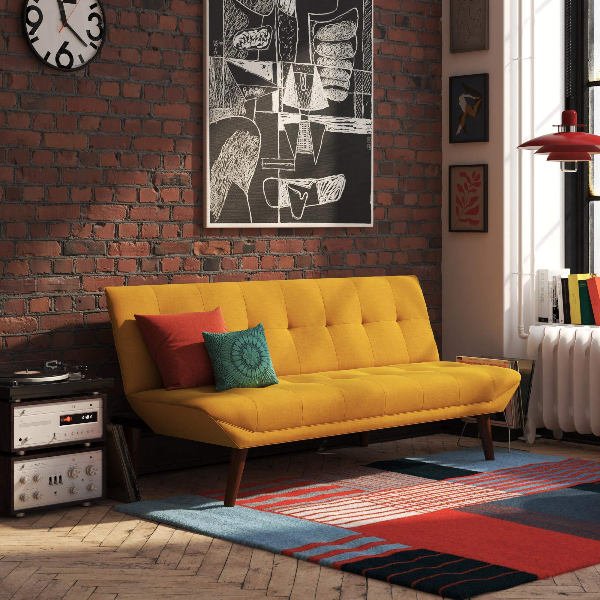 REALROOMS Adley Small Space Convertible Modern Futon Couch Lounger, Mustard Yellow Linen by REALROOMS