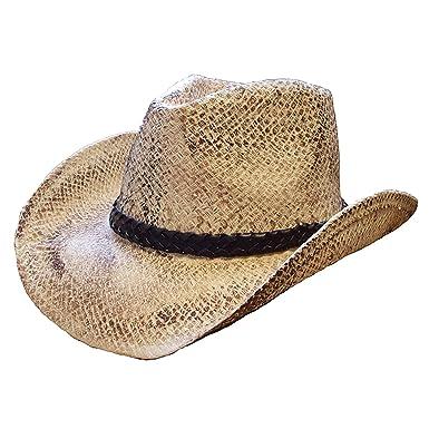 e118b1b23ff NATURAL STRAW VINTAGE LOOK COWBOY HAT 57CM-59CM  Amazon.co.uk  Clothing