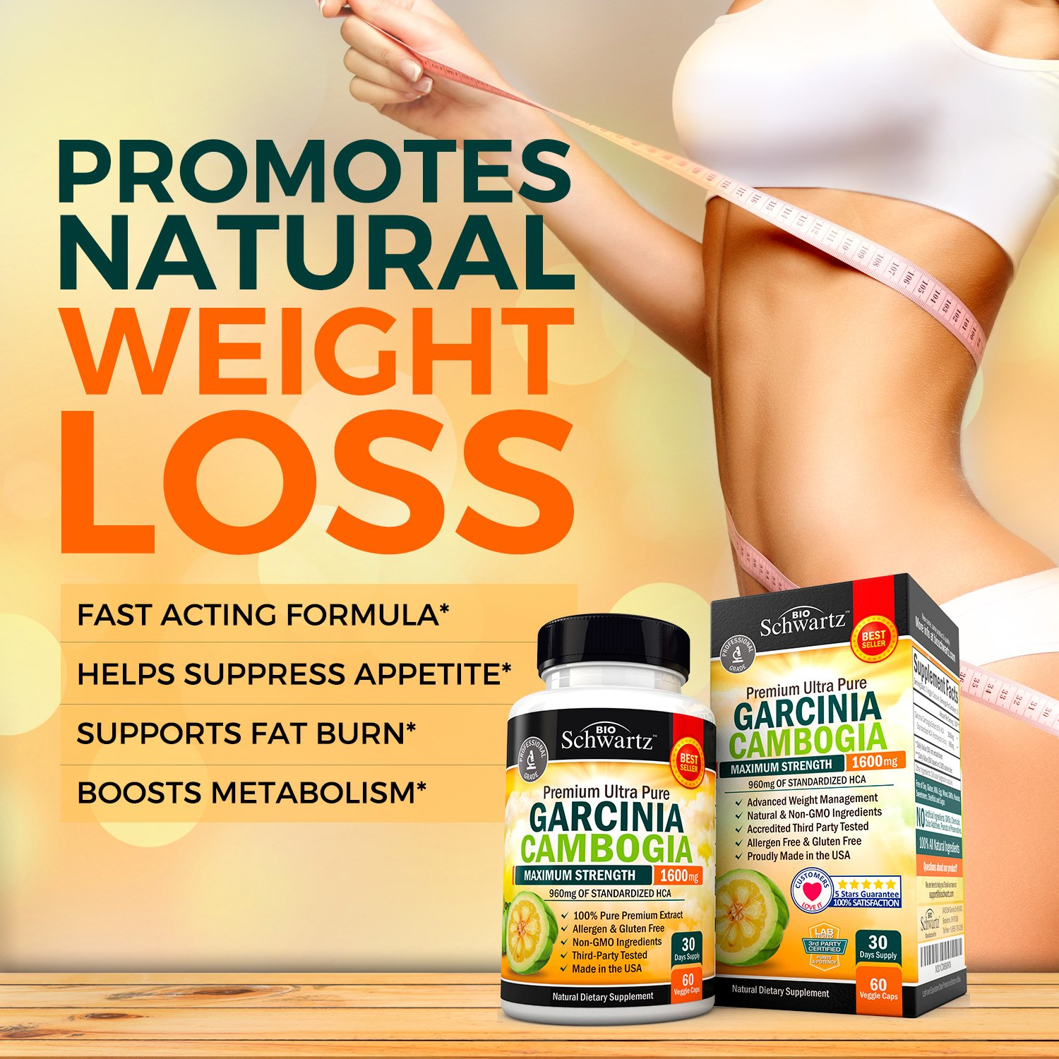 Garcinia Cambogia Pure Extract 1600mg with 960mg HCA. Fast Weight Loss & Fat Metabolism. Best Appetite Suppressant, Extreme Carb Blocker & Fat Burner for Women & Men. Garcinia Cambogia Premium Pills