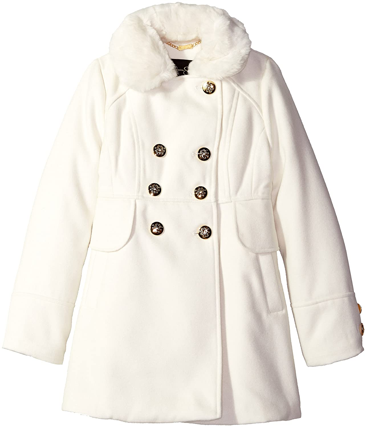 Jessica Simpson Big Girls' Double Breasted Church Coat with Faux Fur Collar 216620