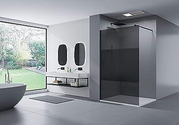 Mampara de ducha Walk-In Nano 8 mm, cristal auténtico EX101, color negro, cristal gris con rayas de vidrio esmerilado, ancho a elegir, Gris: Amazon.es: Bricolaje y herramientas