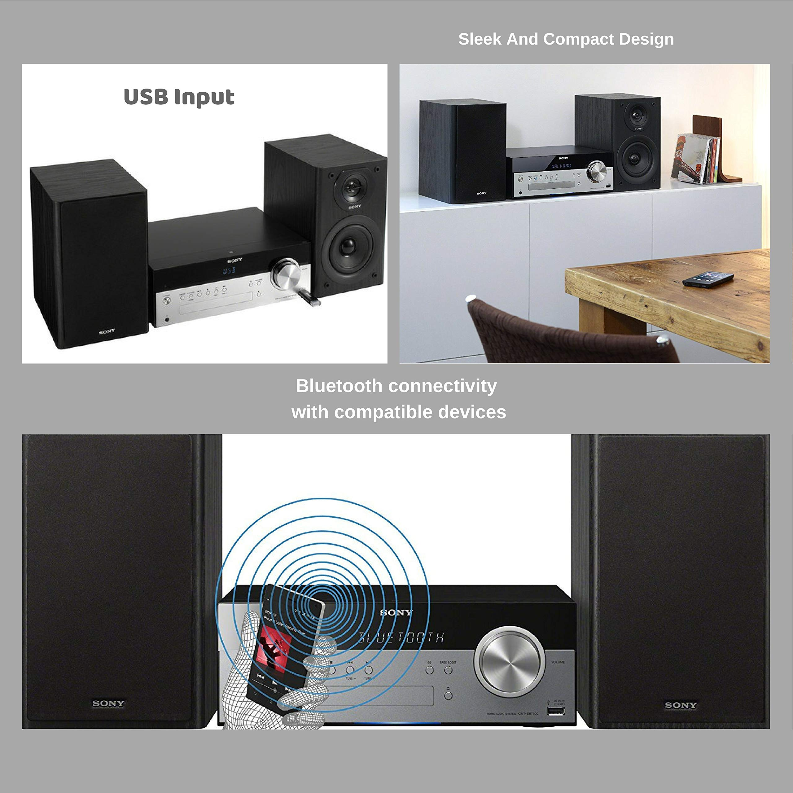Sony Bluetooth Micro Music System Bundle – [2] Piece Set Includes Micro Hi-fi Shelf System with Single Disc Cd Player, Bluetooth, USB Input, 2-Way, Bass Reflex Speakers NeeGo Bluetooth Receiver; by NEEGO (Image #2)