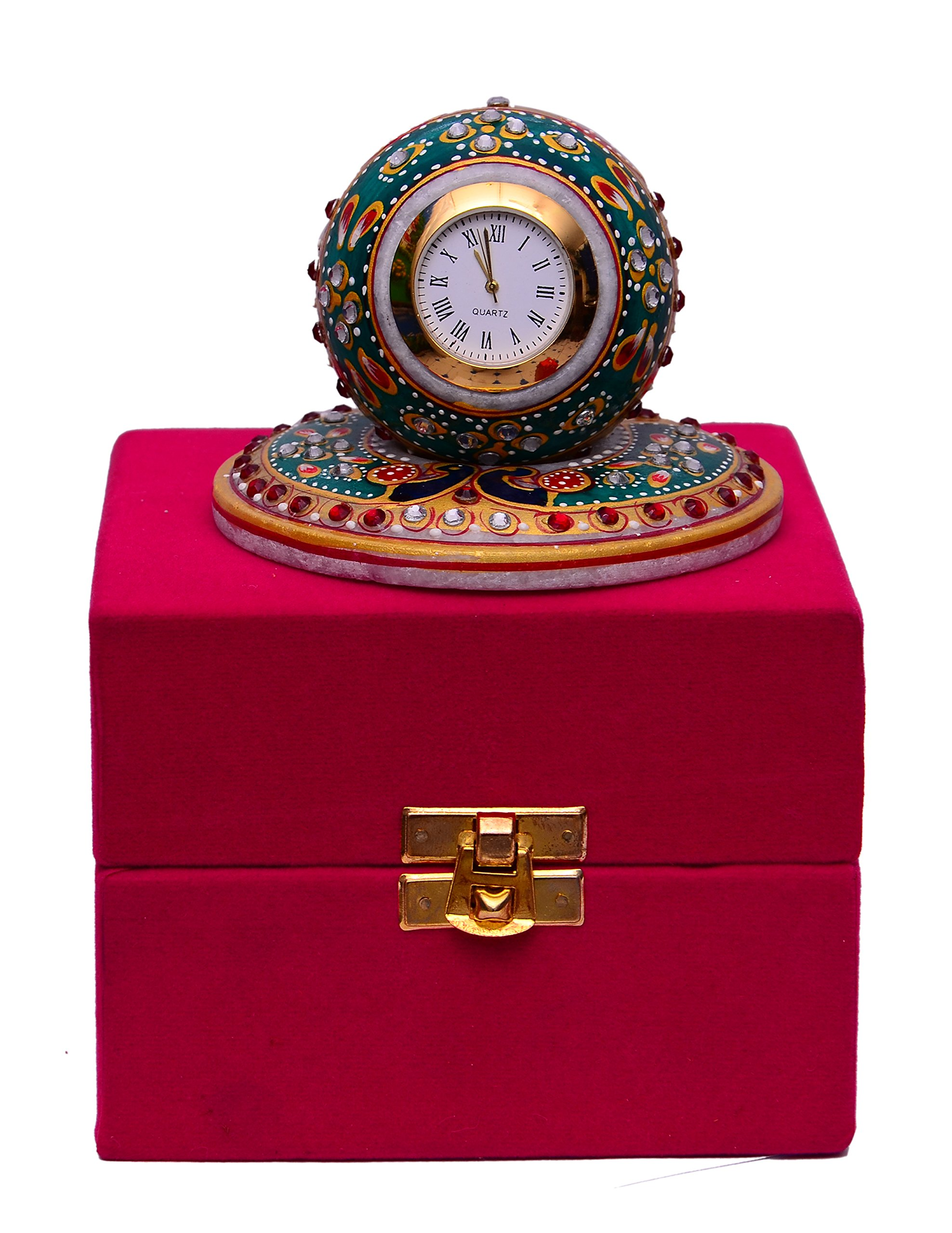Purpledip Handmade Gift Hamper For Any Occasion - Marble Clock With Colorful Stones & Peacock Design In Velvet Gift Box (10471)