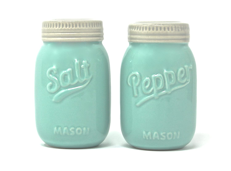 Vintage Mason Jar Salt and Pepper Shakers - Rustic, Farmhouse, Shabby Chic Mason Jar Decor - Mint Blue Sturdy Ceramic Shakers make for Adorable Decorative Farmhouse Kitchen Decor Grupo Marathon Usa Inc. Farmhouse-Mason-Jar-Shakers
