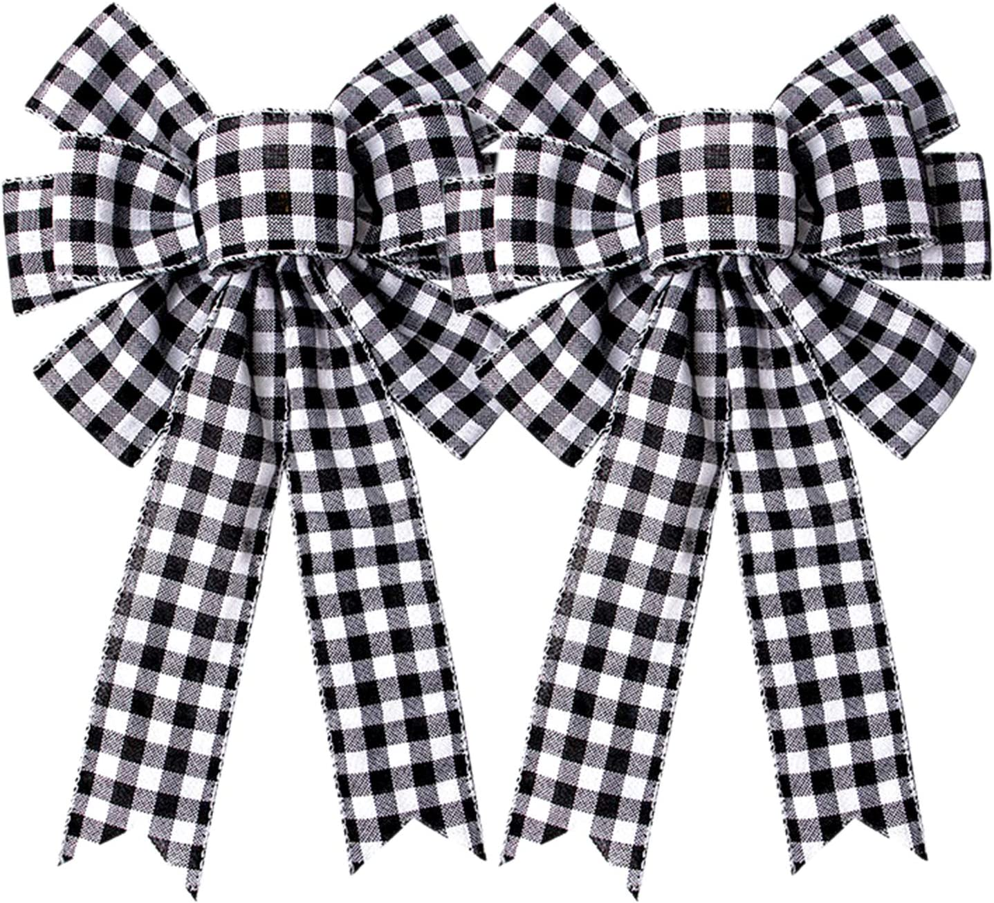 Iceyyyy Large Buffalo Plaid Bow - 16.4x10 inch Black and White BuffaloPlaidCheck Swag Bow Fall Christmas Thanksgiving Wreath Gift Bow Christmas Tree Topper Bow for HomeIndoorOutdoorOrnaments (2)