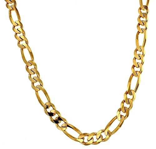 108b07a8eac6 Collar Cadena Figaro 18k oro doublé 13 mm longitud seleccionable joyeria  desde la fábrica italiana tendenze regalo para mujer y hombre