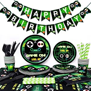 Video Game Party Supplies-Gamer Birthday Party Supplies Including Gaing Paper Plates,Cups,Napkins, Straws And Happy Birthday Banner For Boy Gamer Birthday Party Decoration