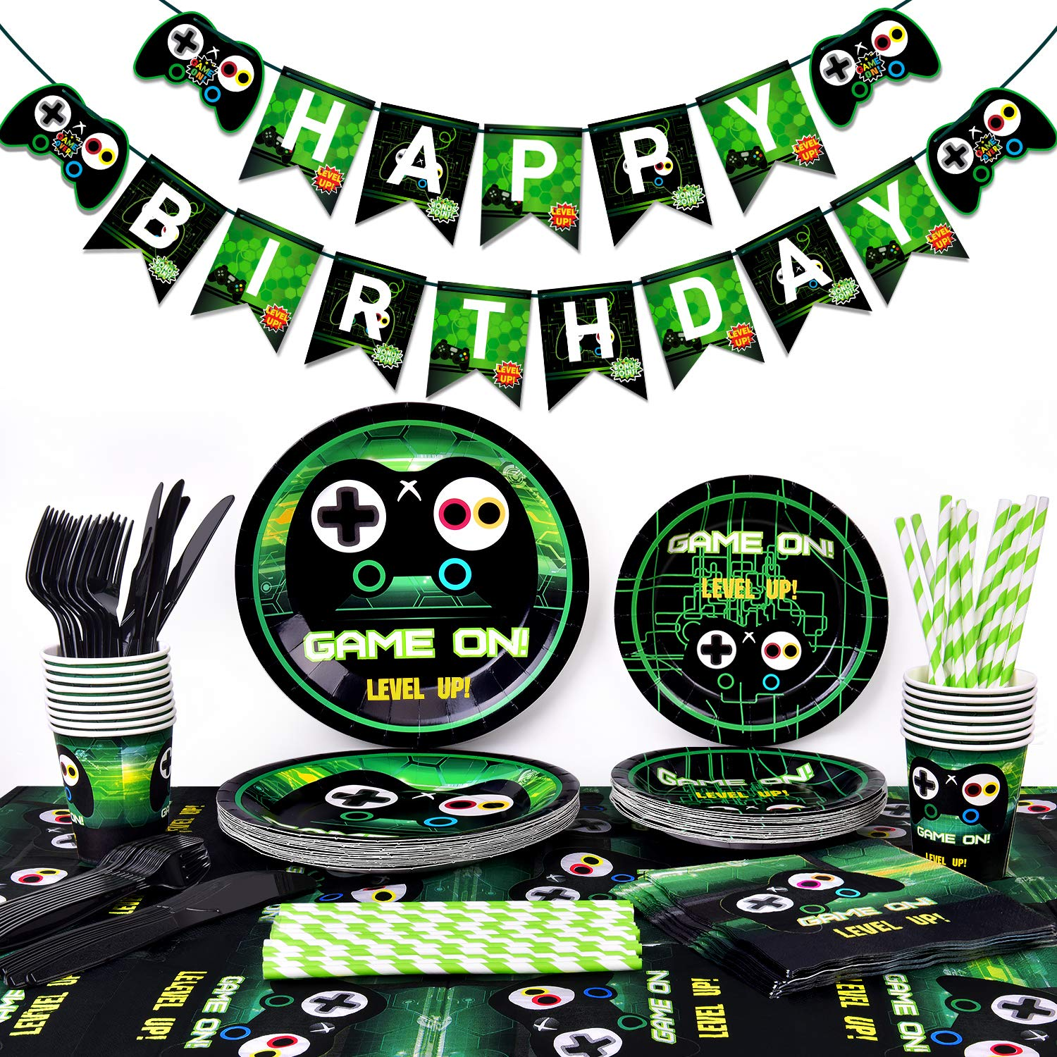 Video Game Party Supplies-Gamer Birthday Party Supplies Including Gaing Paper Plates,Cups,Napkins, Straws And Happy Birthday Banner For Boy Gamer Birthday Party Decoration by Threemart