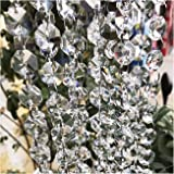 Crystal Chandelier Beads Beebel 19.7Ft Clear Glass Crystal Beads Lamp Chain Garland for Chandelier Prism Octagon Beads…