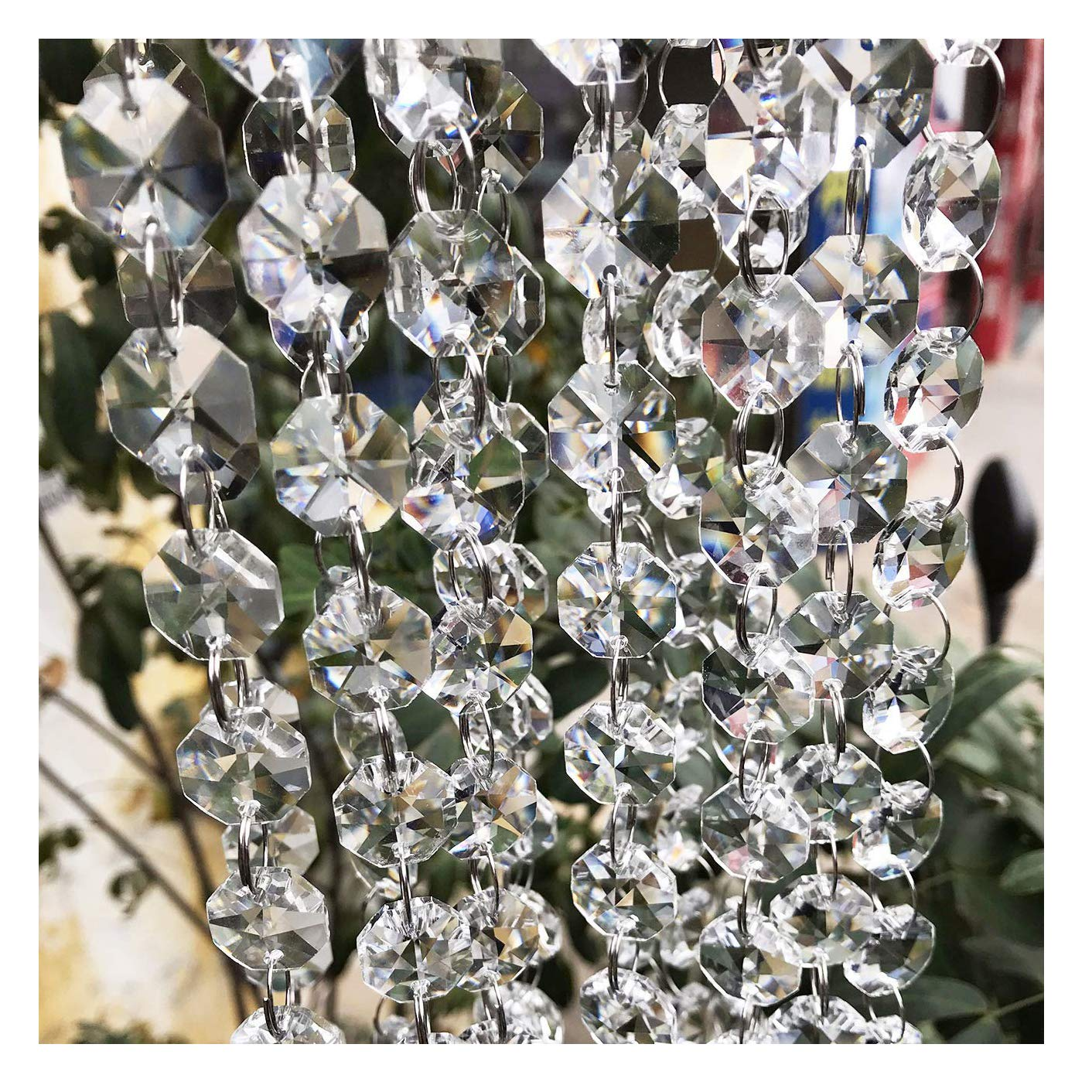 Crystal Chandelier Beads Beebel 19.7Ft Clear Glass Crystal Beads Lamp Chain Garland for Chandelier Prism Octagon Beads Chain for Wedding Home and DIY Craft Jewelry Decoration by Beebel