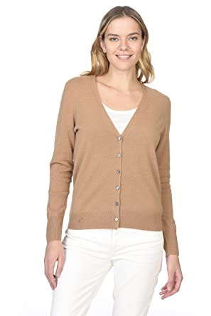 e02b3d2108a57 State Cashmere Women s 100% Pure Cashmere Button Front Long Sleeve V ...