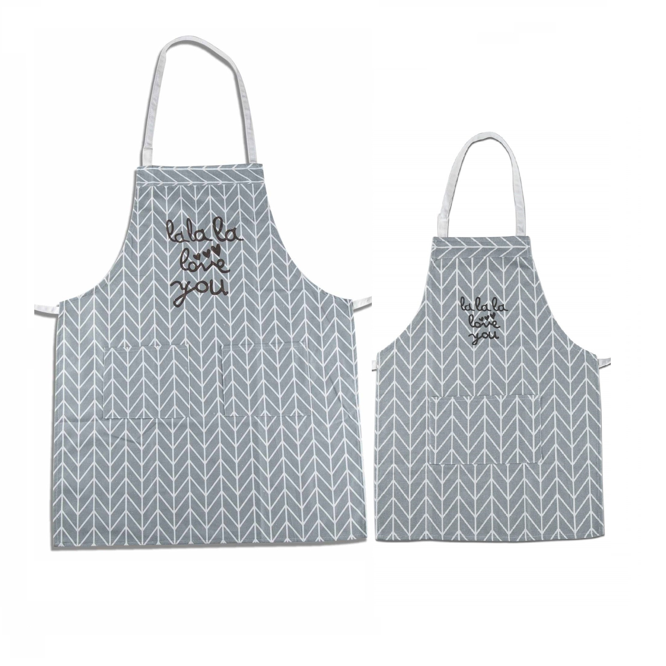 Makimoo Kitchen Bib Apron Set, 2 Pack Adjustable Cotton Linen Chef Cooking Aprons with Pockets For Mom and Daughter Girls Kids, Perfect Gift