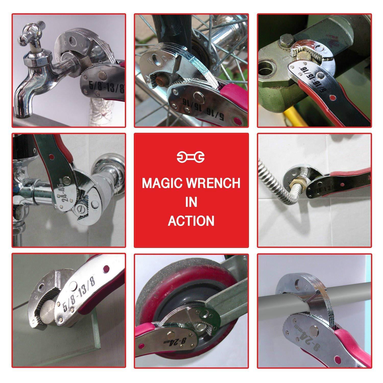 Justierbarer Magic Wrench Multi-Ratsche Funktioniert als reversible Kombination aus Ratschengriff und Rohrschl/üssel SAE-Justierschl/üssel Crescent Crescent-Mutter