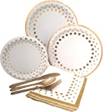 Gold Polka Dot Party Supplies Elegant Metallic Foil Includes Paper Plates, Napkins & Silverware for 8 Guests