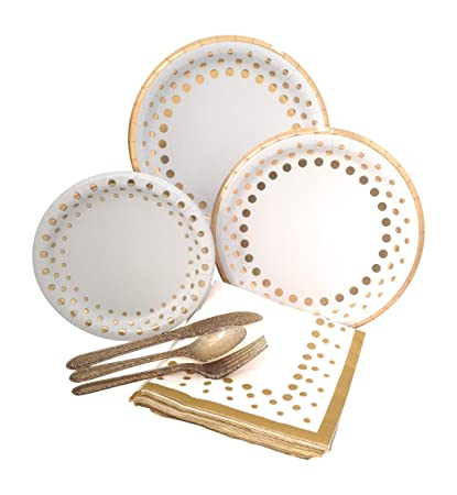 Gold Polka Dot Party Supplies Elegant Metallic Foil Includes Paper Plates Napkins u0026 Silverware for  sc 1 st  Amazon.com & Amazon.com: Gold Polka Dot Party Supplies Elegant Metallic Foil ...