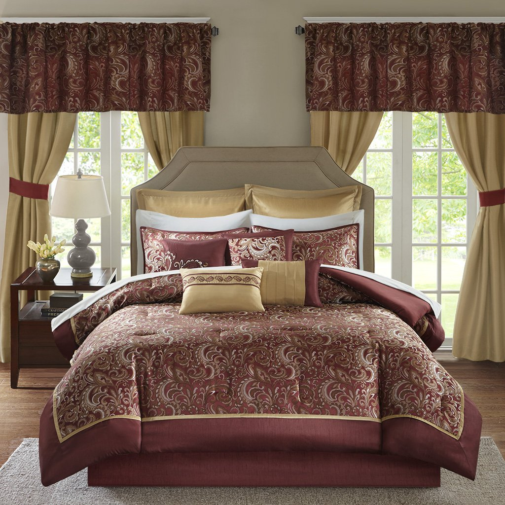 Madison Park Essentials Brystol King Size Bed Comforter Set Room in A Bag - Red, Gold, Jacquard Embroidered Paisley – 24 Pieces Bedding Sets – Faux Silk Bedroom Comforters